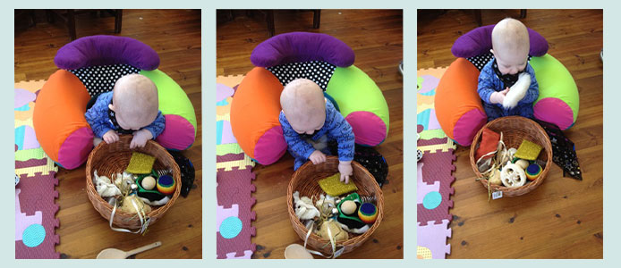 The benefits of making up a treasure basket for your baby or toddler to play with to enhance their development.